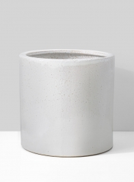 12in White Ceramic Round Cachepot
