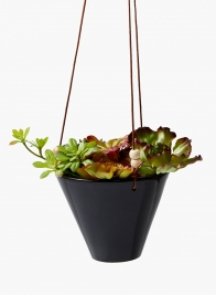Black Ceramic Hanging Pot, 8 1/4in