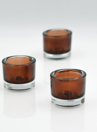 brown thick glass tea light holders