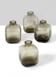 Small Square Smoke Glass Bud Vase, Set of 4