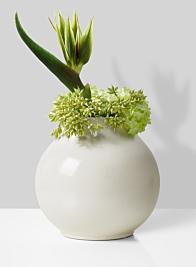 bird of paradise arrangement in ceramic vase