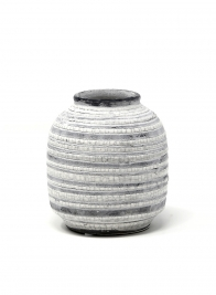 striped round ceramic vase pot