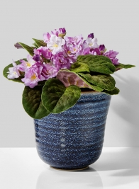 6 1/2in Blue Ceramic Ripple  Pot