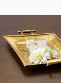 17 x 10in Antique Brass Tray With Handles
