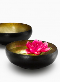 antique gold black brass bowl Indian wedding theme decoration
