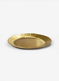 12in Antique Round Raw Brass Tray