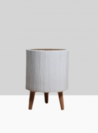 15 3/4in Ripple Matte White Ceramic Planter With Wood Legs