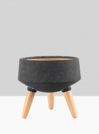 10 1/4in Breakers Black Ceramic Planter With Beech Wood Legs