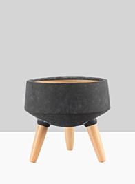 10 1/4in Breakers Black Ceramic Planter With Beech Wood Legs