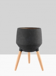 20 1/2in Breakers Black Ceramic Planter With Beech Wood Legs