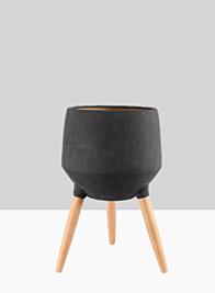 20 1/2in Breakers Black Ceramic Planter With Beech Wood Legs