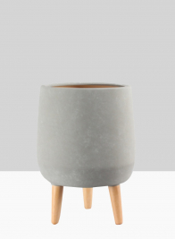 16 1/2in Breakers Grey Ceramic Planter With Wood Legs