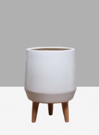 16 1/2in Breakers Matte White Ceramic Planter With Wood Legs