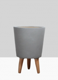 14 1/2in Vaso Grey Ceramic Pot With Wood Legs