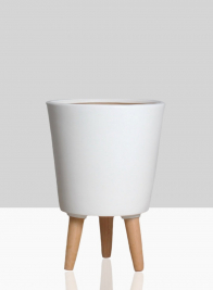 14 1/2in Vaso Matte White Ceramic Pot With Wood Legs