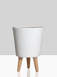 14 1/2in Vaso Matte White Ceramic Pot With Wood Legs