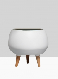 9 1/2in Breakers Matte White Ceramic Planter With Wood Legs