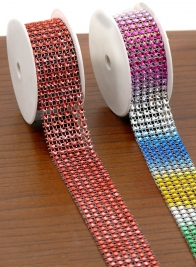 1in x 8ft Multicolor Bead Diamond Ribbon