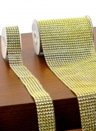 1in x 8ft Gold Diamond Bead Ribbon