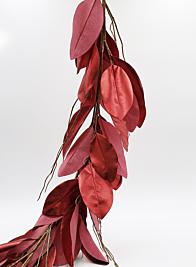 47in Red Magnolia Leaf Garland