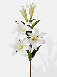 white lily silk flower stem