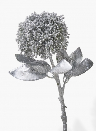 17in Silver Pom Pom Flower