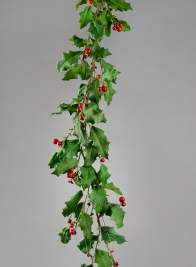 67in Holly & Red Berry Garland