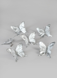 Silver Butterfly Ornament, Set of 6