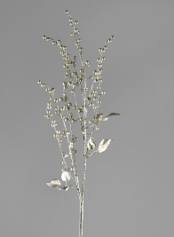 36in Glittered Silver Pearl Spray