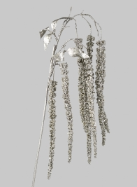 44in Glittered Silver Amaranthus Spray