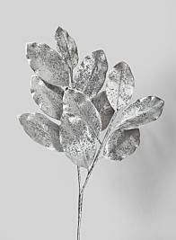 35in Silver Magnolia Leaf Branch