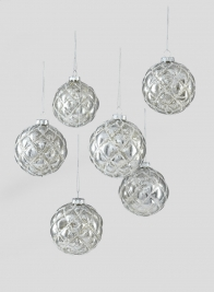 3in Blown Mercury Glass Ornament Ball, Set of 6