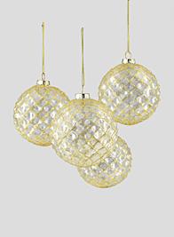 4in Gold Glitter Vine Glass Ball Ornament, Set of 4