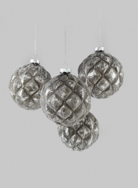 4in Blown Mercury Glass Ball Ornament, Set of 4
