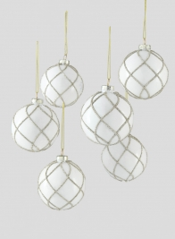 3in Glitter Swirl White Glass Ornament Ball, Set of 6