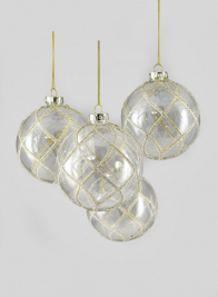 4in Glitter Swirl Clear Glass Ornament Ball, Set of 4