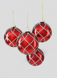 4in Glitter Swirl Shiny Red Glass Ornament Ball, Set of 4