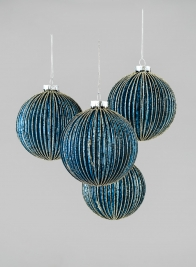4in Blue Pleated Glass Ball With Gold Glitter, Set of 4