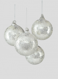 4in Sugared Silver Glass Ball Ornament, Set of 4