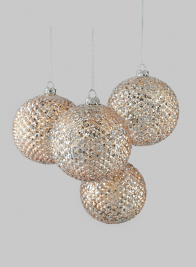 4in Glittered Gold Glass Ball Ornament, Set of 4