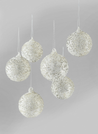 3in Iced & Glittered Gold Glass Ball Ornament, Set of 6