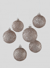 3in Brown Glitter Greek Key Clear Glass Ball Ornament, Set of 6