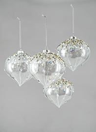Bead & Glitter Glass Onion Ornament, Set of 4