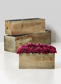 10in, 14in, & 20in Aged Pine Wood Flower Boxes