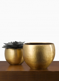 Antiqued Hammered Brass Planters