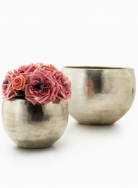 5 1/2- & 7 1/2in Hammered Antiqued Silver Planters