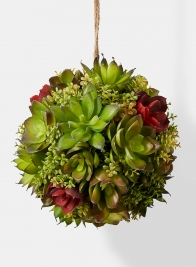 red and green faux succulent ball