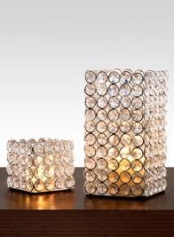 Square Crystal Bead Tea Light & Votive Holder
