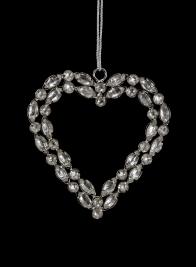 3 3/4in Silver Rhinestone Heart Ornament