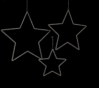 10, 15, & 18in Silver Bead Star Ornament, Set of 3